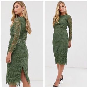 NWT ASOS Green Lace Long Sleeve Midi Dress